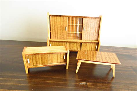 mid century modern doll house 5 pc living room furniture set from virtu doll on ruby lane mid century modern doll house furniture credenza side board hutch table wood dollhouse dining