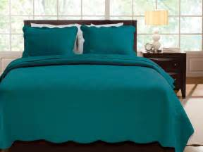 Solid dark teal blue quilt set twin scalloped cotton bedspread