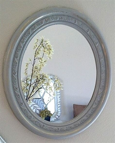 shabby chic grey distressed oval mirror 118
