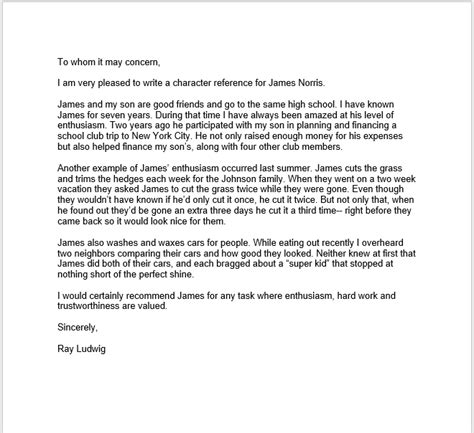 personal character reference letter 38 free sle personal character reference letters ms