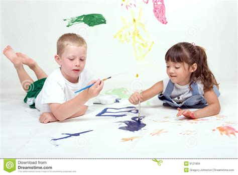 Two Kids Are Painting Pictures Stock Image Image 6121859 Children Painting Pictures
