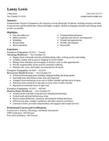 Companion Caregiver Sle Resume by Caregivers Companions Resume Exles Wellness Resume Sles Livecareer