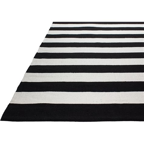 Fab Rugs Nantucket Striped Black White Indoor Outdoor Area Striped Outdoor Rugs