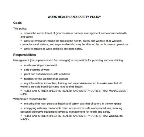 health and safety policy template for small business site