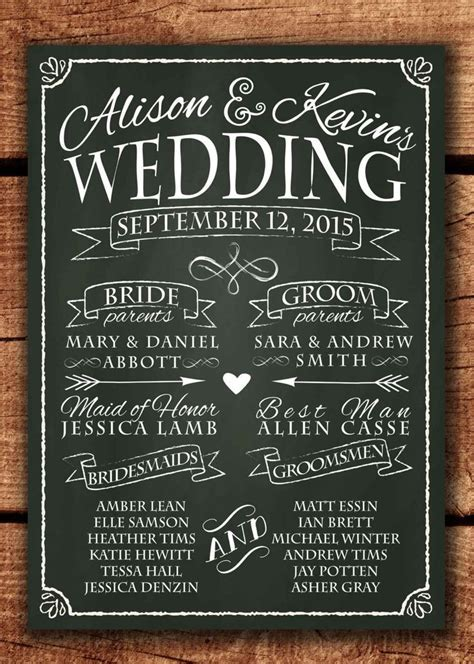Chalkboard Wedding Program Sign, Printable Wedding Program