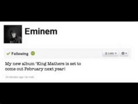 eminem king mathers eminem tweets new album king mathers youtube