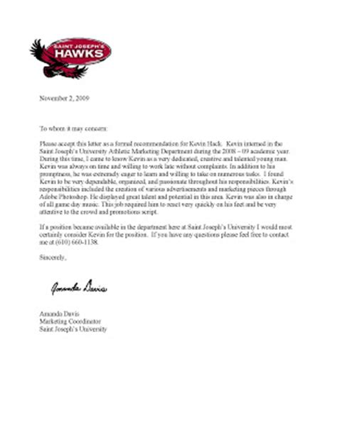 Athletic Letter Of Recommendation Kevin Hack S Portfolio