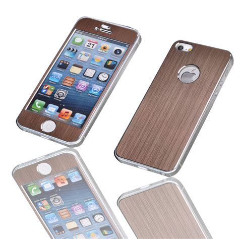 Cover Iphone 5 5s Fashion new fashion front and back for iphone 5 5s metal brushed sticker cover cases for iphone 5s