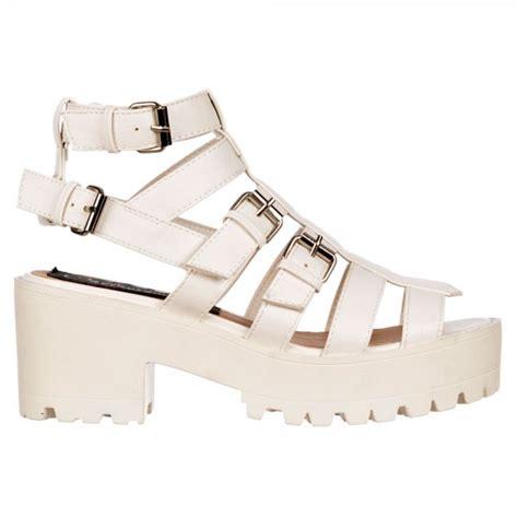 white strappy platform sandals shoekandi gladiator cut out platform summer sandals