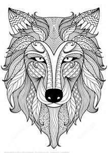 ausmalbild wolf zentangle kostenlos zum