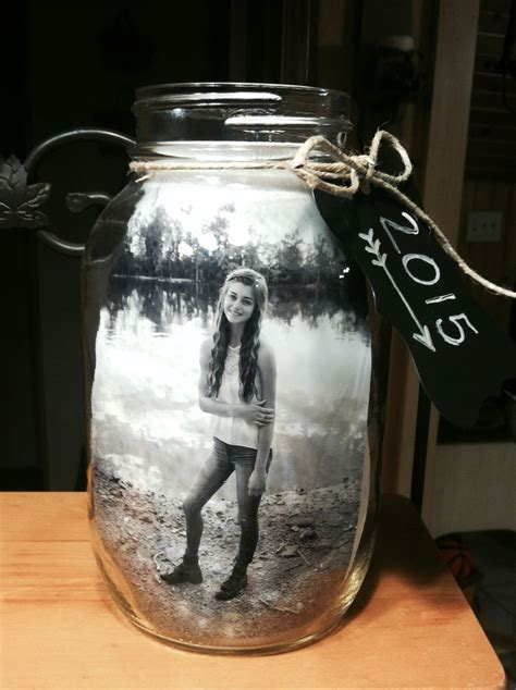 jar centerpiece for graduation i put 2 pictures in