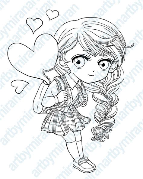 coloring page of school girl digital st school girl digi st coloring page