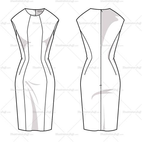 Women S Sheath Dress Fashion Flat Template Illustrator Stuff Fashion Flats Template