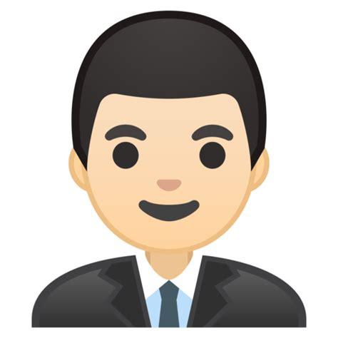 man office worker light skin tone emoji