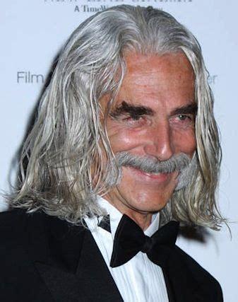 Sam Elliott Long Grey Slickback Hairstyle And Handlebar Mustache | sam elliott real men have long hair pinterest aged