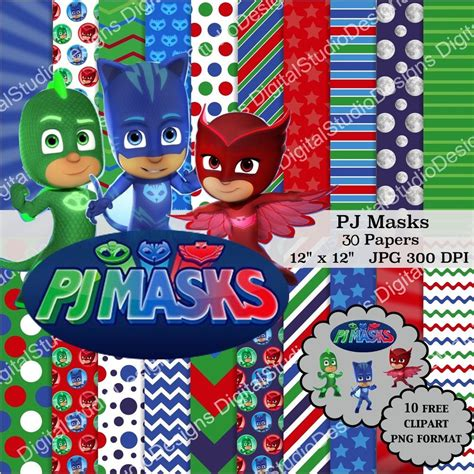 Mask Packs Novi disney pj masks digital paper pack 30 papers 10 clipart