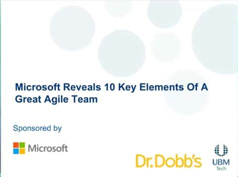 The Key Elements Of Great Resources by 10 Key Elements Of A Great Agile Team Channel 9