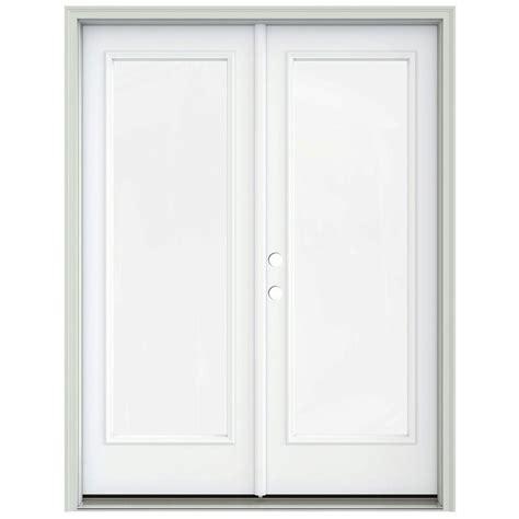 Jeld Wen 60 In X 80 In Brilliant White Prehung Right Prehung Patio Doors
