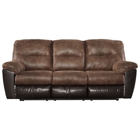 faux leather reclining sofa two tone faux leather reclining sofa by signature design