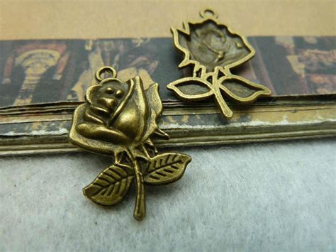 jewelry findings supplies flower charm pendant 17x25mm antique bronze jewelry