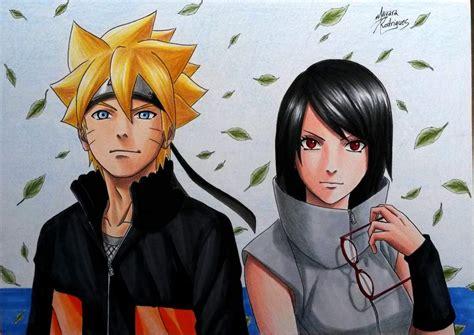 boruto shippuden drawing of sarada and boruto grown up anime amino