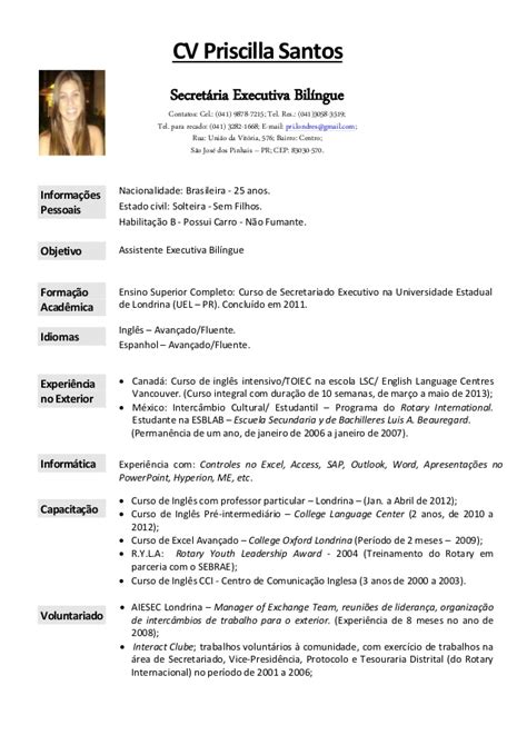 Modelo Curriculum Vitae De Secretaria Cv Priscilla Santos Cv