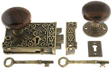 reproduction locks antique brass ornate lock set