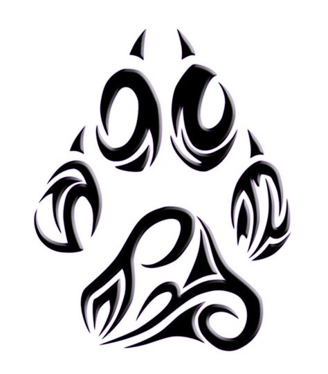 collection of 25 wolf paw tribal tattoo stencil