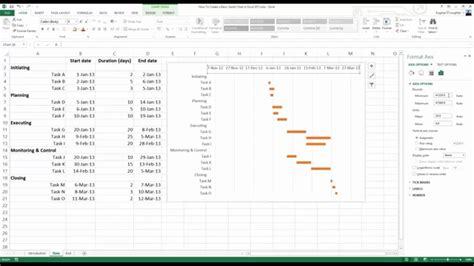 how to create a basic gantt chart in excel 2013 youtube