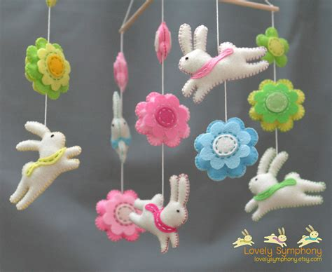 Handmade Baby Mobiles - rabbits and flowers baby mobile bunnies and flowers baby
