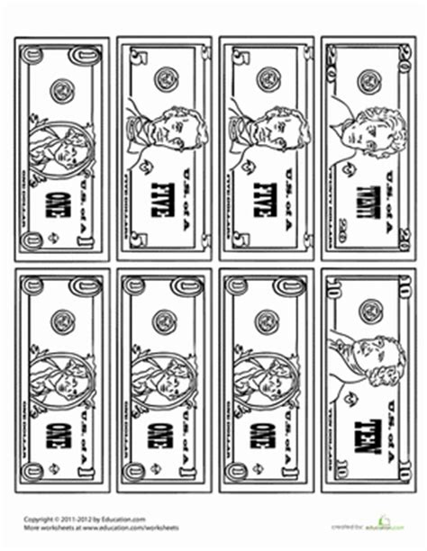 money coloring page worksheet education com