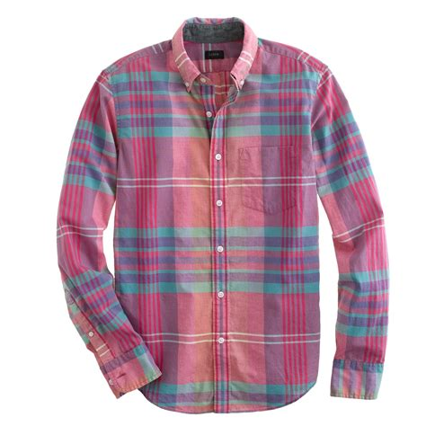 Limited Pink Plaid Shirt j crew slim indian cotton shirt in flash pink plaid in pink for lyst