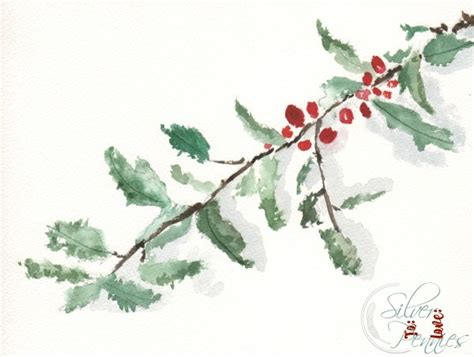 watercolor holly tutorial holly watercolor free printable finding silver pennies