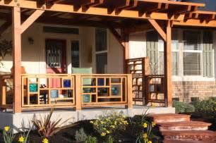 Pergola Railing Design by Pergola And Front Railing Using Colored Amp Glass Tile