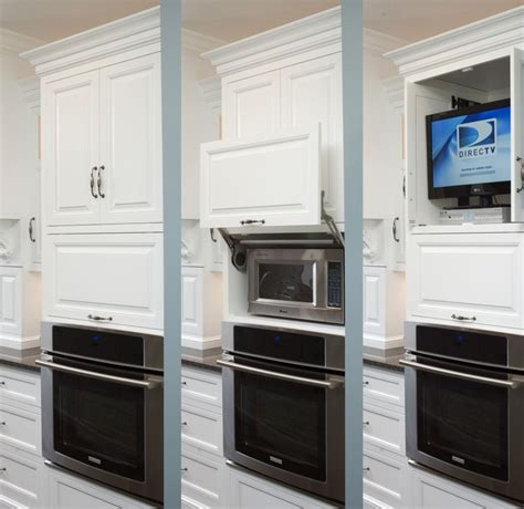 kitchen microwave ideas formal white kitchen with blue island mullet cabinet traditional kitchen cleveland by