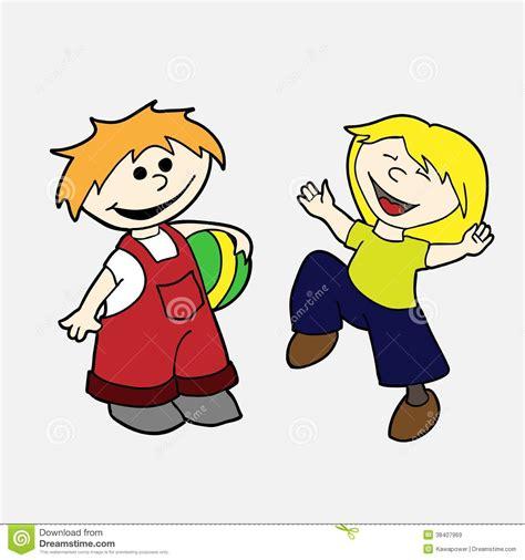 imagenes niños felices jugando sistema dibujado mano del vector ni 241 os felices im 225 genes