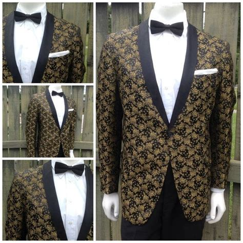 picture of 1950s prom tuxedo vintage 1950s mens black gold floral brocade vintage