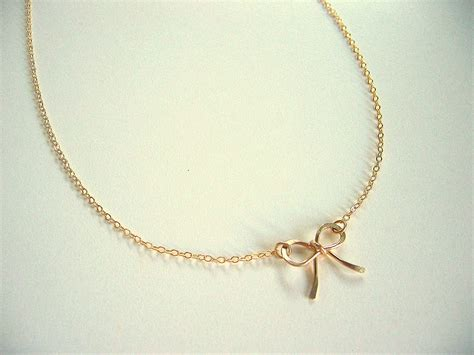 gold bow necklace gold ribbon necklace on luulla