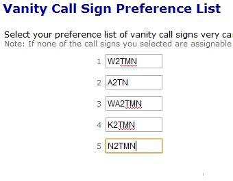 how to apply for a vanity radio callsign in the us
