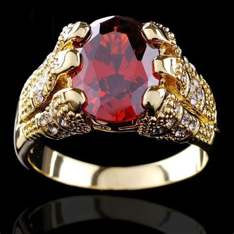 yellow gold filled ruby ring s 10kt finger rings for