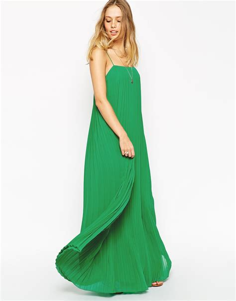 swing dress lyst asos pleated maxi swing dress in green