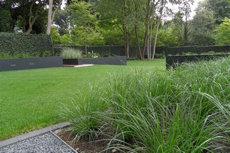 afscheiding tuinen maken strakke tuin grasveld grassen moderne tuin staal
