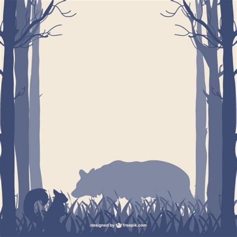 forest trees bear and squirrel silhouettes vector free