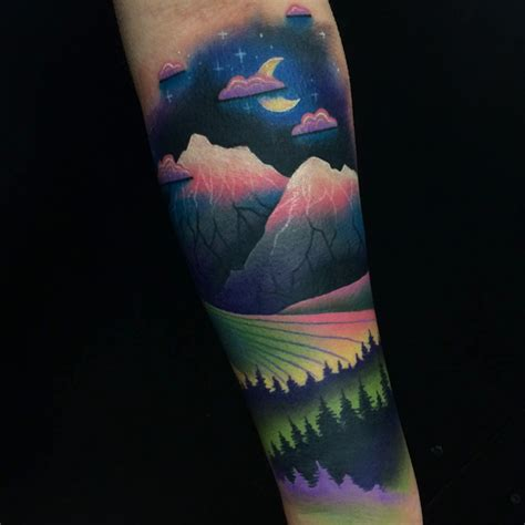 mountain landscape tattoo on arm best tattoo ideas gallery