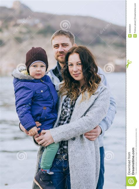 Sweater Happy Smile Fashion Family happy family and walking in harbour stock photo image 50905651