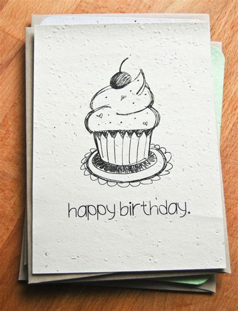what to draw on a day card plantable seed paper happy birthday card illustrated