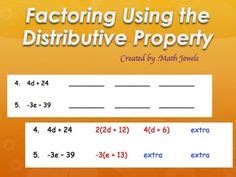 Factoring Using The Distributive Property Worksheet Answers by 1000 Images About Distributive Property Factoring On