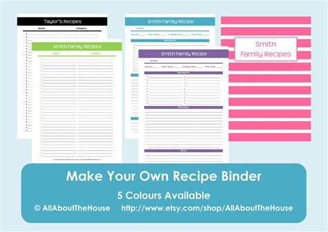 recipe template for apple pages make your own personalised printable recipe binder