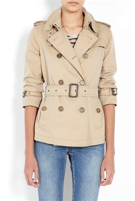 Cropped Trench Coats by Burberry Brit Honey Cropped Gabardine Trench Coat By