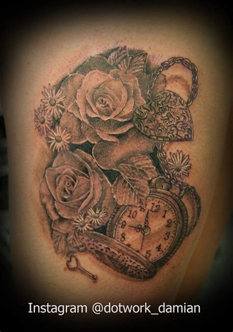 rose heart locket tattoo pocket with roses